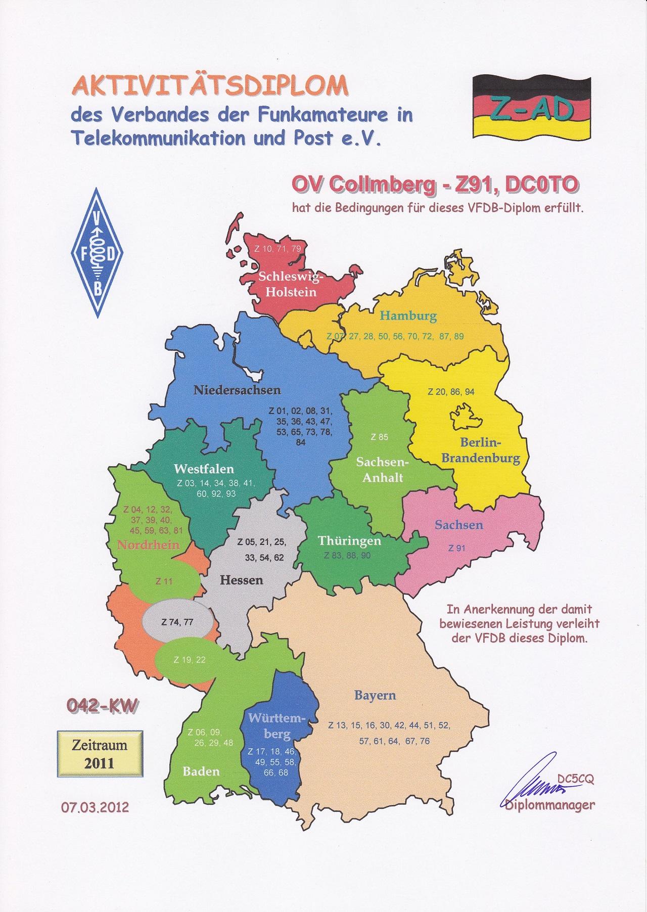 VFDB- Aktivitäts- Diplom